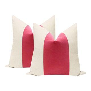 """22"""" Rosé Pink Velvet Panel & Linen Pillows - a Pair"""