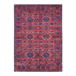 Red Geometric Design Afghan Andkhoy Wool Hand-Knotted Rug For Sale