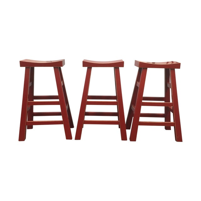 Red Solid Wood Stools - Set of 3 - Image 1 of 10