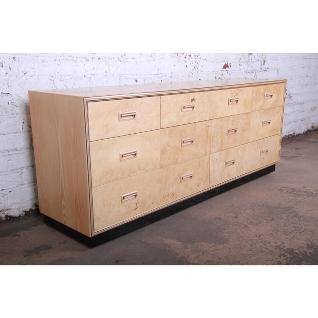 Mid-Century Modern Burl Wood Long Dresser Credenza by Henredon For Sale - Image 3 of 13