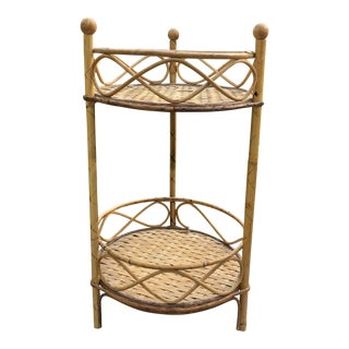 Mid-Century Modern Rattan Bamboo Shelving Stand