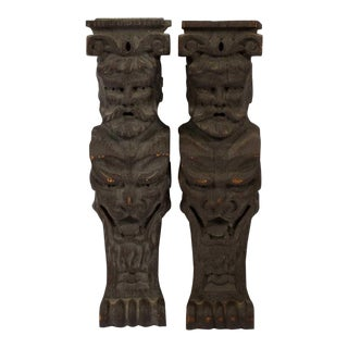 Late 19th Century Vintage Black Forest Oak Architectural Grotesques- A Pair For Sale