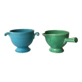 Vintage 1938 Fiesta Ware Cream and Sugar Set - A Pair For Sale