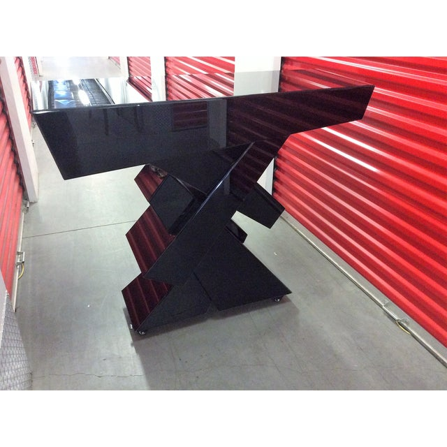 Modern Black Beveled Mirror Console Table - Image 8 of 11