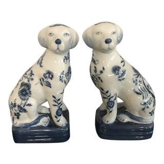 20th Century Asian Antique Wong Lee Crackle Glaze Porcelain Dog Figurines - a Pair For Sale