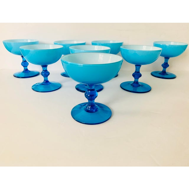 Turquoise Vintage Carlo Moretti Turquoise Cased Glass Coupes - Set of 8 For Sale - Image 8 of 11