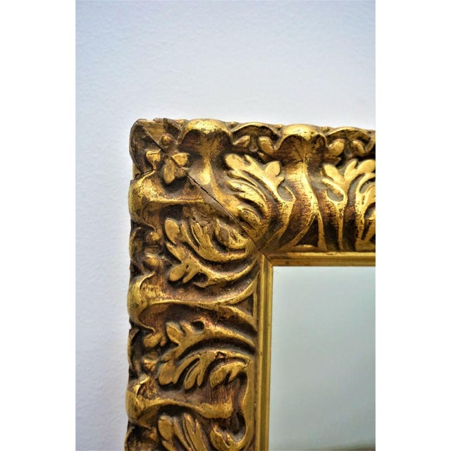 Mid-Century Carved Gilded Gold Wall Mirror - Image 3 of 5