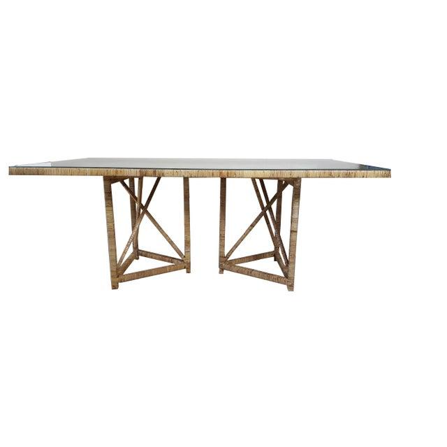 Boho Chic Buri Rattan Rectangular Dining Table For Sale - Image 6 of 6