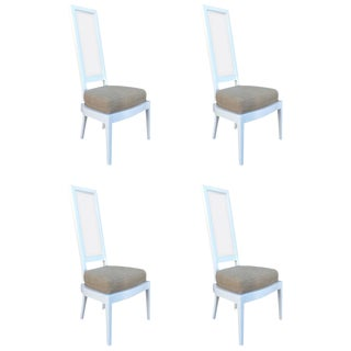 1970s White Lacquer and Lucite Dining Chairs - Set of 4 For Sale