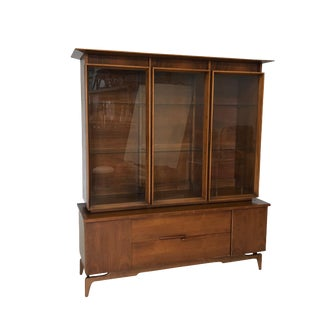 Mid Century Modern Atomic Credenza and Hutch Display For Sale