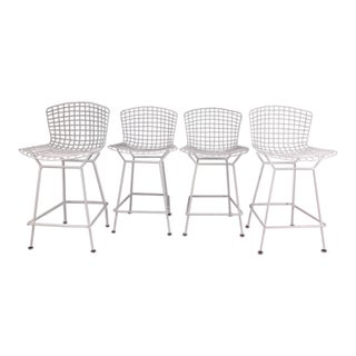 Knoll International Harry Bertoia Wire Bar Stools - Set of 4 For Sale