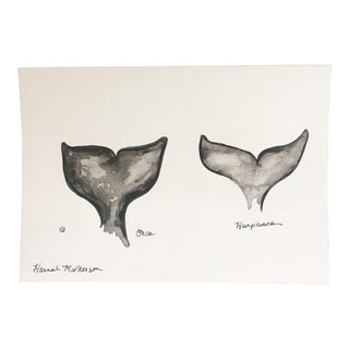 Watercolor Whales Original Painting