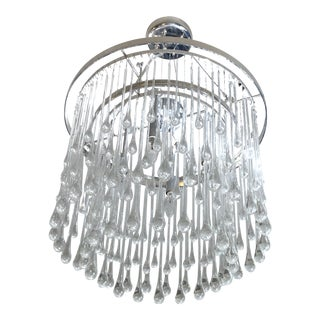 Ochre Polished Nickel Frame With Solid Clear Glass Drops Round 2 Tiers Chandelier For Sale