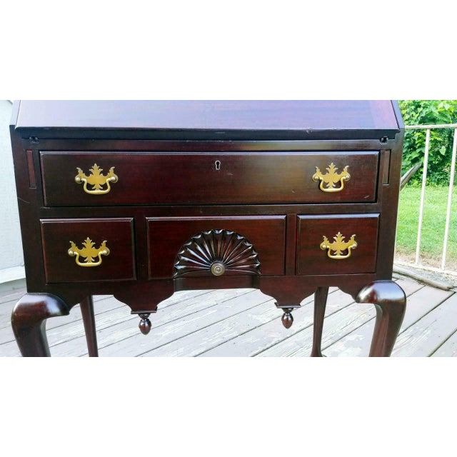 Antique Queen Anne Solid Mahogany Slant Drop Front Secretary Desk For Sale - Image 10 of 13
