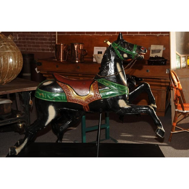 Wood French Antique Carved & Painted Carousel Horse For Sale - Image 7 of 8