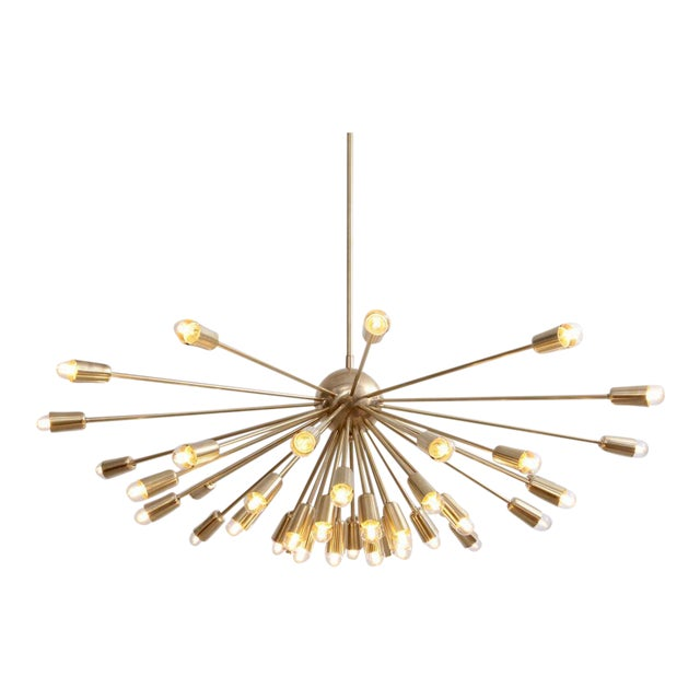 Impressive Brass Sputnik Chandelier in the Manner of Stilnovo For Sale