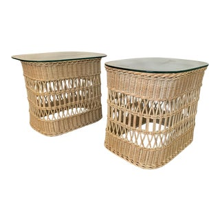 Woven Rattan and Wicker End Tables For Sale