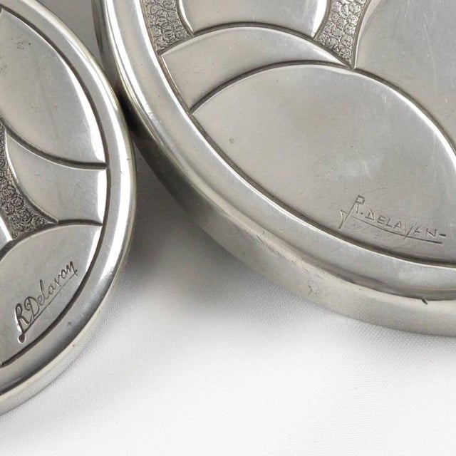 Silver French Rene Delavan Art Deco Dinanderie Polished Pewter Box, 2 Pieces For Sale - Image 8 of 11