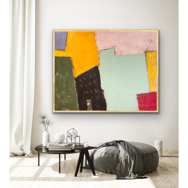 """2020s Sarah Trundle Contemporary Abstract City-Scape Painting """"On the Block"""" For Sale - Image 5 of 7"""