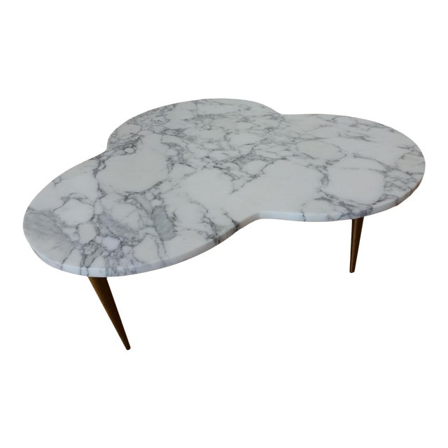 Mid-Century Modern Marble Clover Coffee Table For Sale