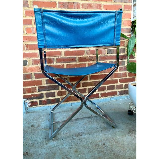 Milo Baughman Vintage Blue and Chrome Milo Baughman Director's Chair For Sale - Image 4 of 11