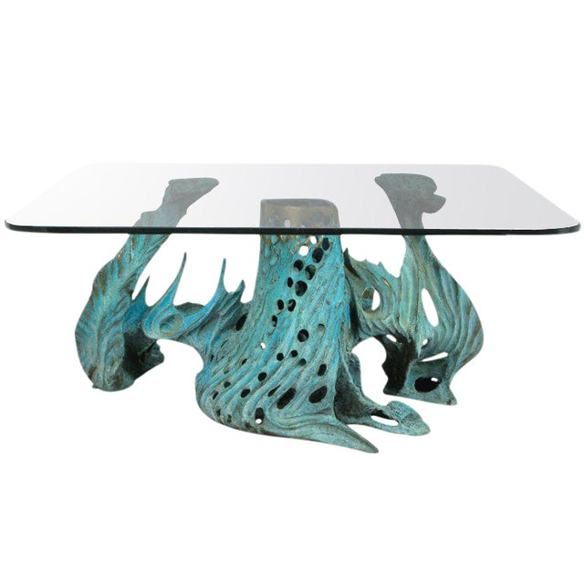 Bob Bennett Cast & Turqouise Patinated Bronze Abstract Sculpture Table For Sale