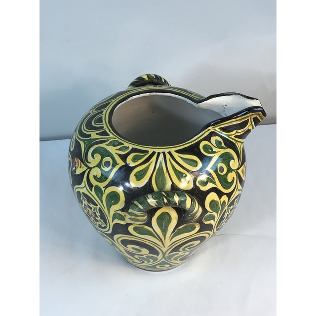 Folk Art Antique 19th C. Cantagalli Deruta Italy Pottery Urn Vase For Sale - Image 3 of 13