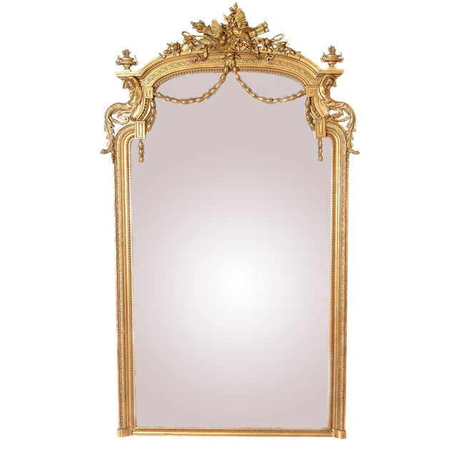 Elaborate 19th Century Louis XVI Style Gilt Mirror For Sale