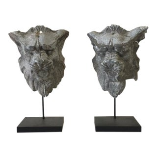 1900s Antique French Zinc Lion Heads on Stands - a Pair For Sale