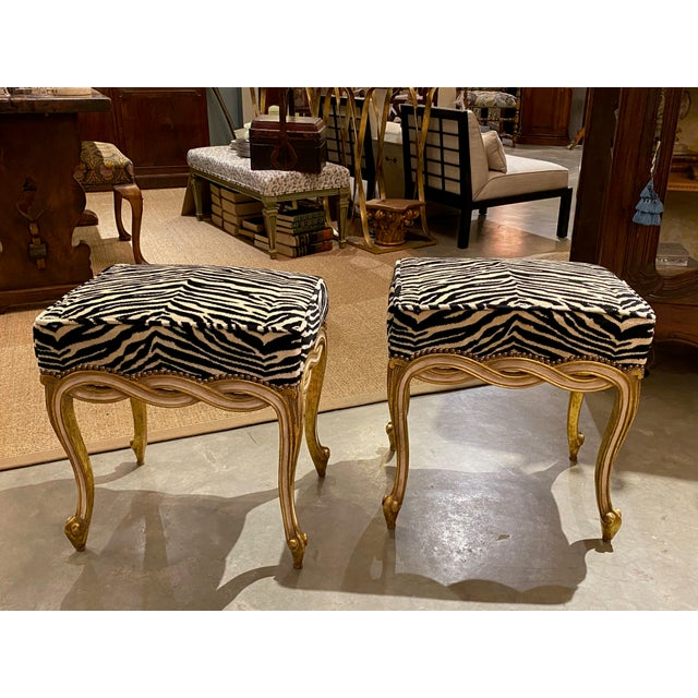 Regency style ribbon taboret benches with Zebra velvet upholstery. Circa1960.