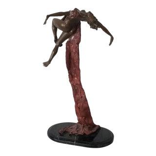 Vintage Dancer Female Bronze Sculpture on Marble Base . For Sale