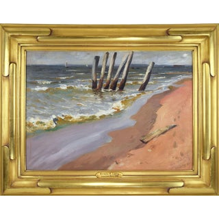 1910 Antique New York Oil Painting Seascape by Swedish Artist Herman Magnusun Linding For Sale
