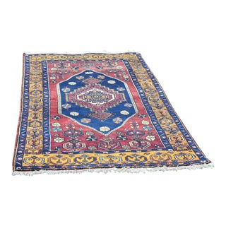 Vintage Hand Knotted Geometric Yahyalı Anatolian Rug For Sale
