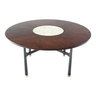 Harvey Probber Round Walnut Game Center Table with Travertine Insert For Sale