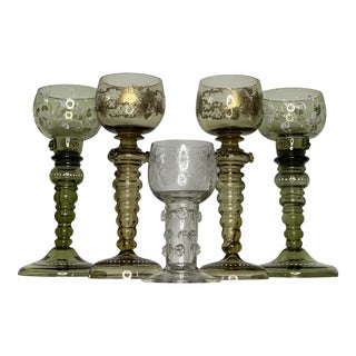 Clear Gold and Green Early 20th Century Five Moser Wine Glasses - Set of Five For Sale