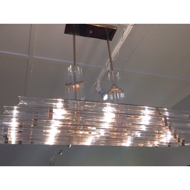 1970's Lucite and Brass Pendant Chandelier - Image 8 of 11