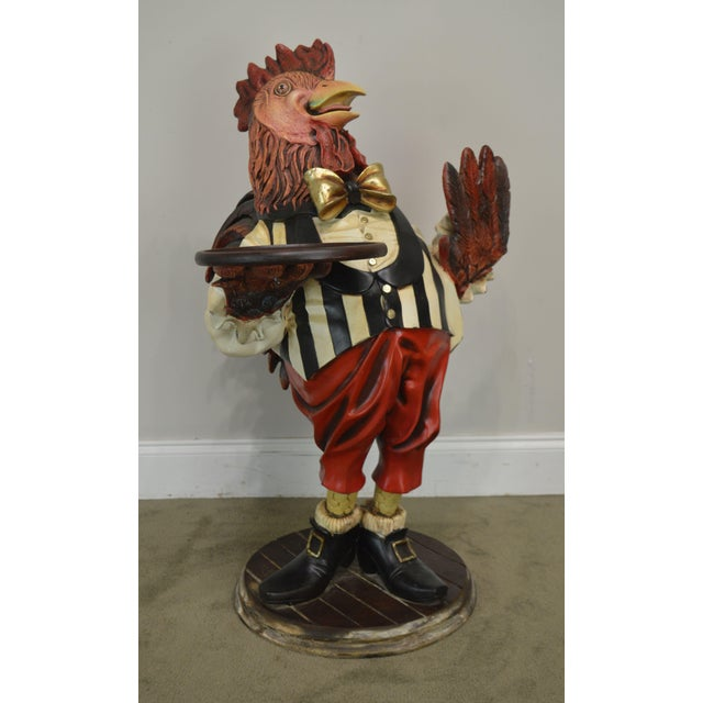 White A. W. Design Large Painted Rooster Statue For Sale - Image 8 of 13