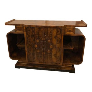 Vintage Italian Art Deco Walnut Sideboard For Sale
