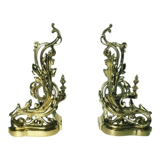 19th Century French Rococo Baroque Style Brass Andirons - a Pair For Sale