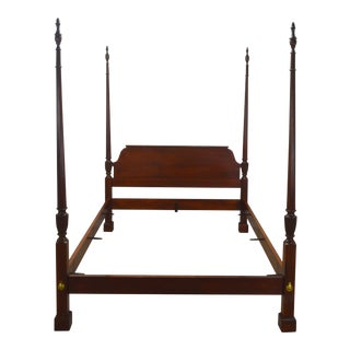 20th Century Federal Baker Queen Size Mahogany Poster Bedframe For Sale