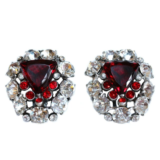Art Deco 1930s Red Faceted Glass & Rhinestone Dress Clips - a Pair For Sale - Image 3 of 6