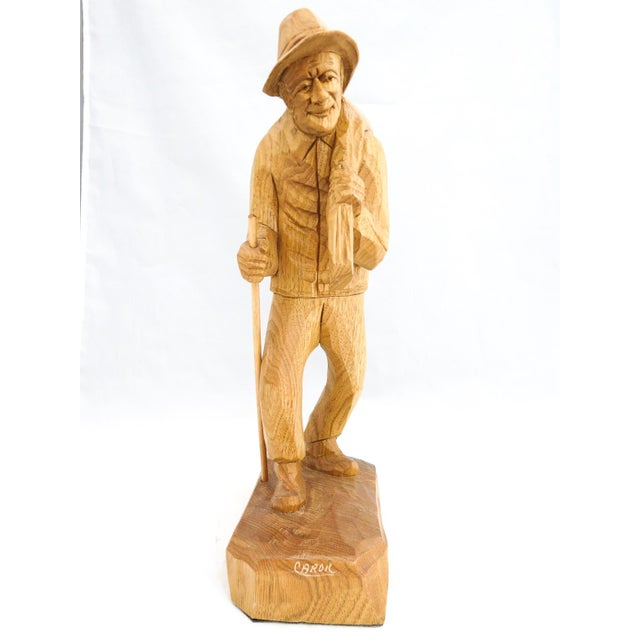 Vintage Signed Caron Quebec Wood Carving Old Man with Walking Stick and Bundle on Back For Sale - Image 4 of 7