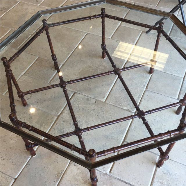 Vintage Bamboo Brass Cocktail Coffee Table - Image 4 of 5