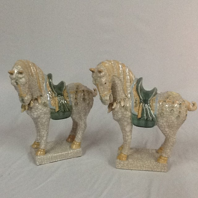 Hollywood Regency Italian Ceramic Crackle Horses - A Pair For Sale - Image 3 of 6
