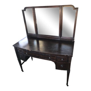 Antique Wood Vanity/ Desk With Removable Mirror For Sale