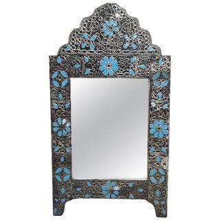 Moroccan Ultra Arched Metal Inlaid Mirror, Rabat-Light Blue Motif For Sale