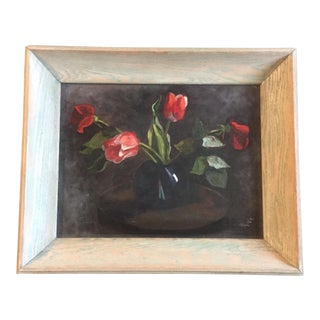 Original Mid Century Vintage Tulip Still Life Painting