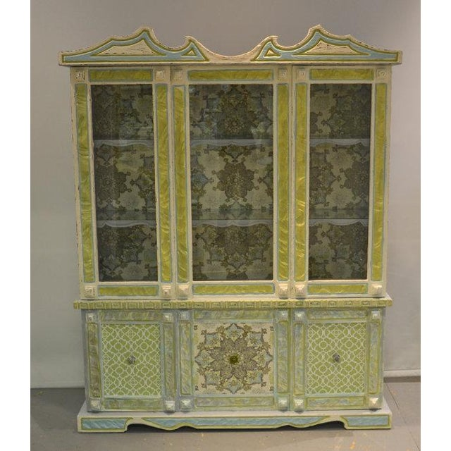 Painted & Wallpapered China Cabinet - Image 2 of 5