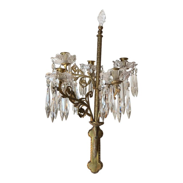 Cast Bronze and Crystal Candle Sconces -A Pair For Sale