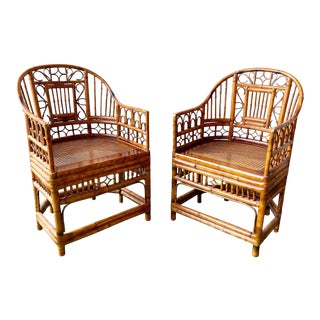 1990s Bamboo and Cane Brighton Pavilion Style Chairs - a Pair